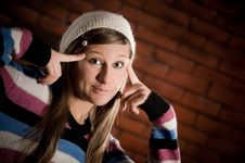 Free Girl On The Brick Wall Royalty Free Stock Photography - 16474827