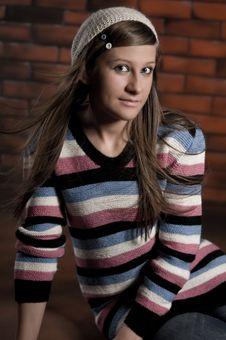 Free Girl On The Brick Wall Stock Photos - 16474863