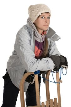 Free Girl On Sledge Stock Images - 16474904