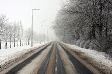 Long, Snowy Way Stock Photo