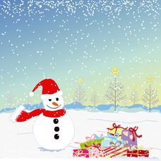Free Christmas Greeting Snowman Royalty Free Stock Photos - 16475208