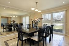 Dining Room With Black Table Stock Photography