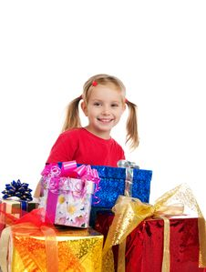 Free Cute Girl Wih The Gifts Royalty Free Stock Image - 16479146