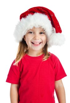 Free Cute Little Girl In Claus Hat Royalty Free Stock Photo - 16479245