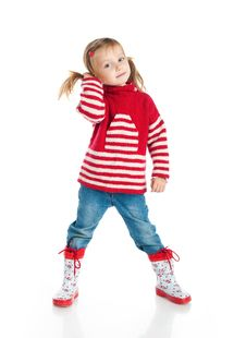 Little Girl Wearing Sweater And Gumboots Stock Image
