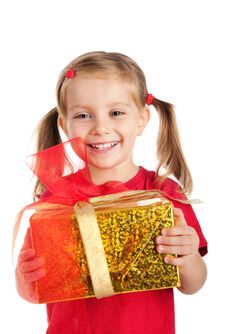 Free Little Girl Wih The Present Stock Photography - 16479402