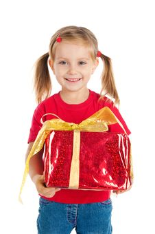 Free Pretty Girl Wih The Gift Royalty Free Stock Photos - 16479488