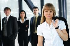 Free A Young Businesswoman In Front Of Her Colleagues Stock Photos - 16480243