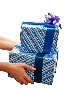 Free Presents In Womans Hands Royalty Free Stock Photography - 16480257