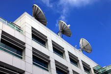 Pointing At The Sky, Satellite Dishes. Stock Images