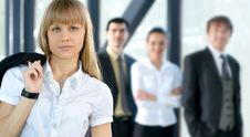 Free A Young Businesswoman In Front Of Her Colleagues Royalty Free Stock Photos - 16480568