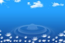 Abstract Background Of Lotuses And Blue Sky Stock Photo