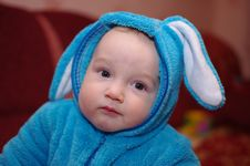 Baby Boy In Suit Of The Rabbit Royalty Free Stock Images