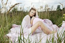 Free Woman Lying On A Sheet In Field Royalty Free Stock Photos - 16481248