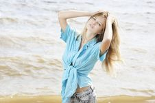 Beautiful Young Woman At The Sea Stock Images