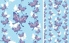 Free Seamless Background With Butterflies Stock Photography - 16481292