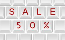 Sale 50 On Keyboard Stock Photo