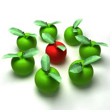 Free 3d Render Of Red And Green Apples Royalty Free Stock Photography - 16482427