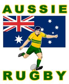 Free Rugby Player Kick Australia Flag Stock Images - 16482784