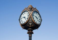 Outdoor Clock, Isolated On Blue Stock Photos