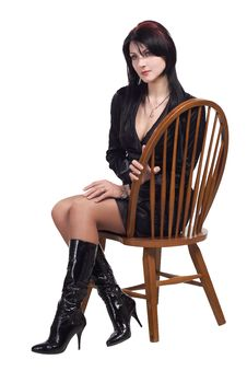 Free Woman Sitting On Vintage Chair Royalty Free Stock Image - 16483446