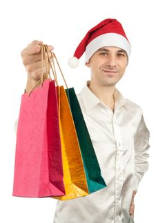 Young Men In Christmas Red Hat Stock Images