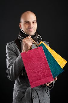 Free Young Men With Paper Presents Bags Royalty Free Stock Photography - 16484687