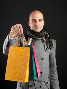 Free Young Man With Shopping Bags Stock Photography - 16484712