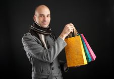 Free Young Men With Paper Presents Bags Stock Photos - 16484723