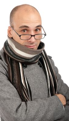 Attractive Male Wearing A Coat And Scarf Stock Photo