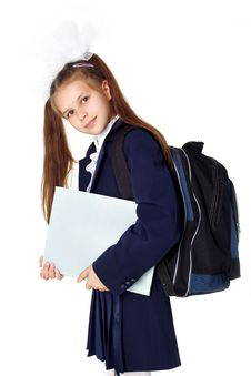 Little Girl With Backpack And Book Stock Photography