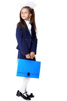 Schoolgirl With Briefcase Stock Photo