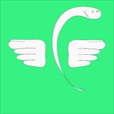 Charming Snakes With Wings Smiles Stock Photos