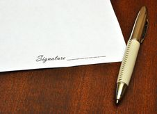 Pen And Blank Paper For Signature Stock Photo
