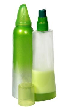 Free Two Green Plastic Bottles Stock Images - 16487774