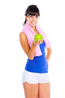 Free Young Woman With Green Apple Stock Photo - 16488420