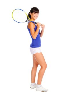 Young Girl With A Tennis Racket Stock Images