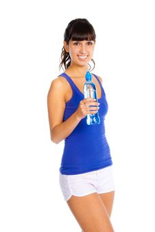 Free Young Woman With Bottle In The Hand After Fitness. Stock Photos - 16488443