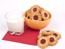 Bowl Of Cookies With Glass Of Milk Stock Images