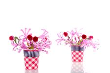 Free Little Vases With Pink And Red Flowers Stock Images - 16491084