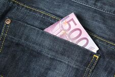 500 Euro Banknotes In A Jeans Pocket Stock Photos