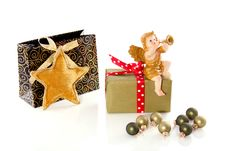 Free Christmas-balls Gifts And An Angel Royalty Free Stock Photos - 16491348