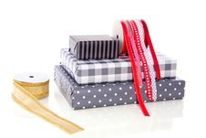 Free Gifts Ribbons And Wrappingpaper Stock Image - 16491461