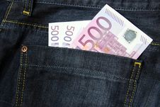 500 Euro Banknotes In A Jeans Pocket Royalty Free Stock Image