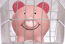 Free Piggybank Behind Cage Royalty Free Stock Photography - 16491487