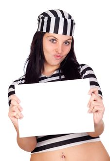 Free Sexy Prisoner With Blank Paper Stock Images - 16491644