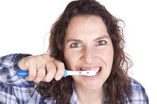 Free Woman Brushing Teeth Close Stock Photos - 16493453