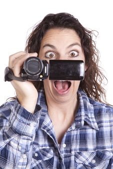 Free Woman Watching Video Camera Scared Royalty Free Stock Photo - 16493945