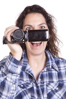 Free Woman Watching Video Camera Smile Royalty Free Stock Photos - 16493948