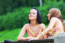 Free Two Talking Girls In The Park Stock Photography - 16494392